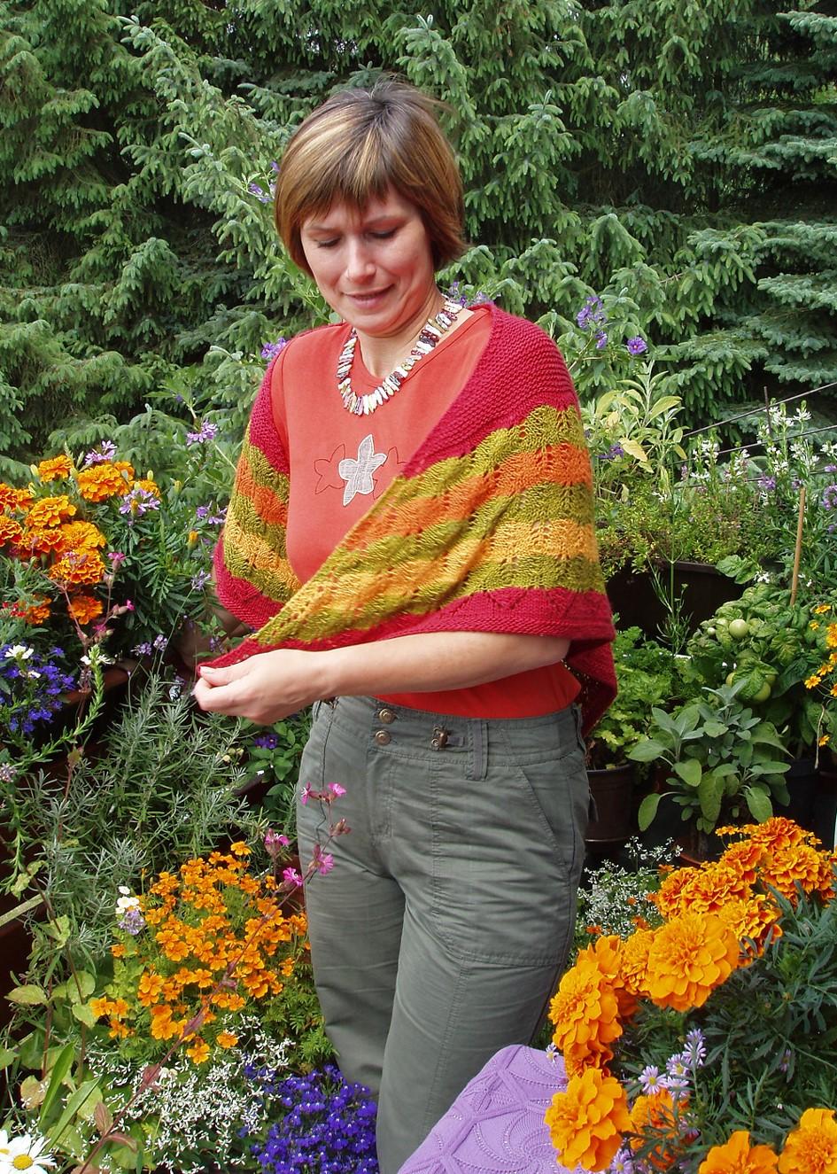 Bindetuch mit Herbstblätter-Bordüre